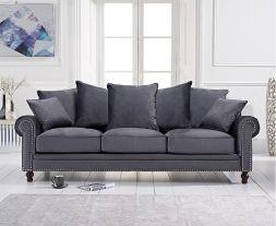 Ellie Grey Plush Fabric 3 Seater Sofa