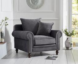 Ellie Grey Plush Fabric Armchair