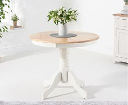 Elstree 90cm Oak and White Pedestal Dining Table