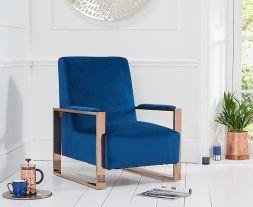 Erica Blue Velvet Accent Chair