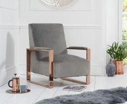 Erica Grey Velvet Accent Chair
