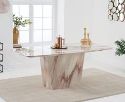 Fariah 200cm Brown Marble Dining Table