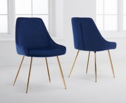 Florida Blue Velvet Dining Chairs (Pairs)