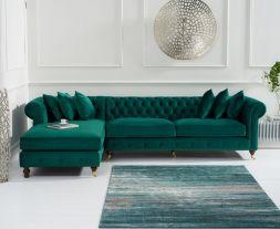 Fiona Green Velvet Left Facing Chesterfield Chaise Sofa
