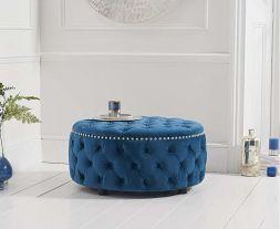 Fiona Blue Velvet Round Footstool