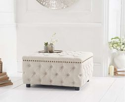 Fiona Cream Linen Square Footstool