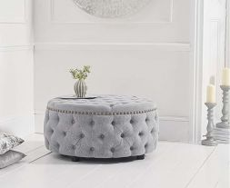 Fiona Grey Linen Round Footstool