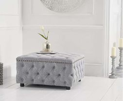 Fiona Grey Linen Square Footstool