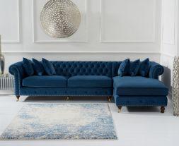 Fiona Blue Velvet Right Facing Chesterfield Chaise Sofa