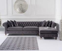 Fiona Grey Velvet Right Facing Chesterfield Chaise Sofa