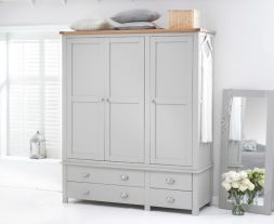 Sandringham Oak And Grey Triple Wardrobe