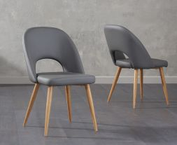 Halle Grey Faux Leather Dining Chairs (Pair)