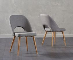 Halle Grey Fabric Dining Chairs (Pair)