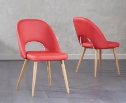 Halle Red Faux Leather Dining Chairs (Pair)