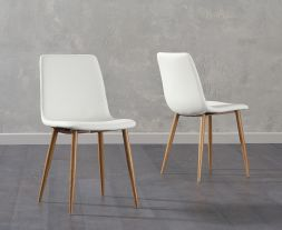 Hatfield Cream Faux Leather Wooden Leg Dining Chairs (Pairs)