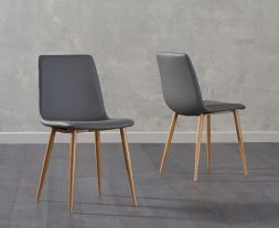 Hatfield Grey Faux Leather Wooden Leg Dining Chairs (Pairs)