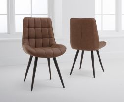 Horacio Brown Faux Leather Dining Chairs (Pairs)