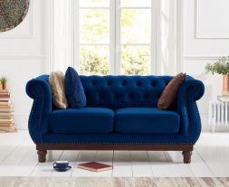 Highgrove Blue Plush Fabric 2 Seater Sofa
