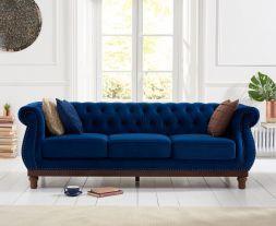 Highgrove Blue Plush Fabric 3 Seater Sofa