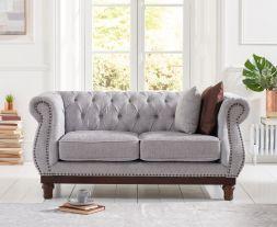 Highgrove Grey Plush Fabric 2 Seater Sofa