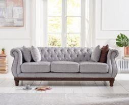 Highgrove Grey Plush Fabric 3 Seater Sofa
