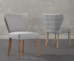 Isabella Grey Fabric Dining Chairs (Pair)