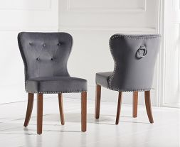 Kalim Grey Plush Fabric & Solid Dark Oak Chairs (Pairs)