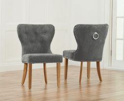 Kalim Grey Plush Studded Dining Chair (Pairs)