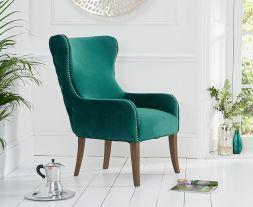 Lance Green Velvet Accent Chair