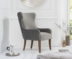 Lance Grey Velvet Accent Chair