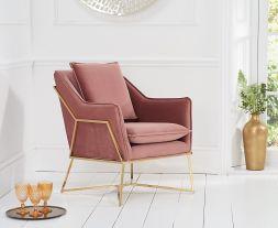 Larna Blush Velvet Accent Chair