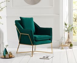 Larna Green Velvet Accent Chair