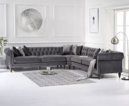 Lauren Grey Velvet 2 + 2 Corner Sofa