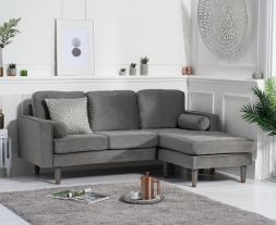 Liam Grey Velvet 3 Seater Reversible Chaise Sofa