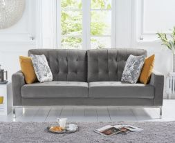 Lillian Grey Velvet 3 Seater Sofa
