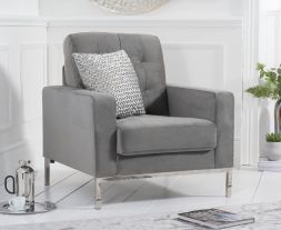 Lillian Grey Velvet Armchair