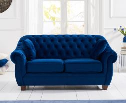 Liv Chesterfield Blue Plush Fabric 2 Seater Sofa