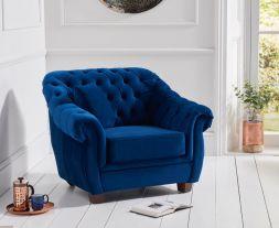 Liv Chesterfield Blue Plush Fabric Chair