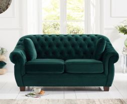 Liv Chesterfield Green Plush Fabric 2 Seater Sofa