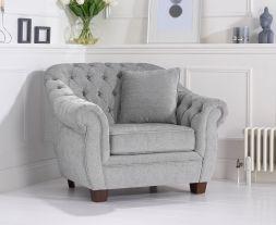 Liv Chesterfield Grey Plush Armchair