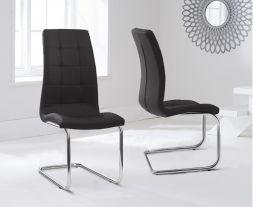 Lucy Hoop Leg Pu Black Dining Chairs (Pair)