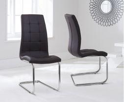 Lucy Hoop Leg Pu Brown Dining Chairs (Pair)