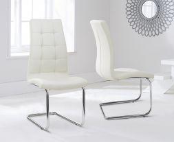 Lucy Hoop Leg Pu Cream Dining Chairs (Pair)