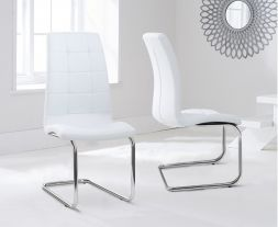 Lucy Hoop Leg Pu White Dining Chairs (Pair)