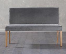 Maiya Large Plush Grey Bench With Back