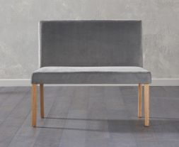 Maiya Small Plush Grey Bench With Back