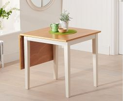 Mara 75cm (113cm) Solid Hardwood & Painted Extending Dining Table - Light Oak & Cream (Use Only With Pt30214)