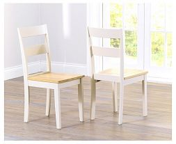 Chichester Solid Hardwood & Painted Dining Chairs (Pairs) - Light Oak & Cream (Use Only With Pt30177 & Pt30180)