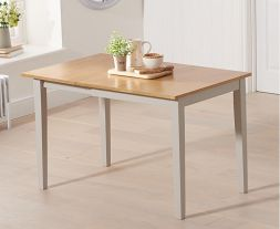 Mara 75cm (113cm) Solid Hardwood & Painted Extending Dining Table - Light Oak & Grey (Use Only With Pt30215)
