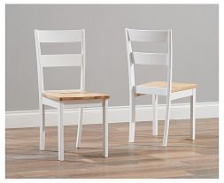 Chichester Solid Hardwood & Painted Dining Chairs (Pairs) - Light Oak & White (Use Only With Pt30179 & Pt30182)